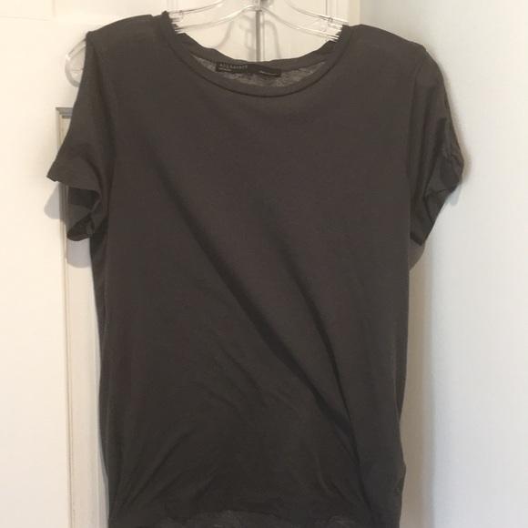 All Saints Tops - ALLSAINTS grey cold shoulder t-shirt